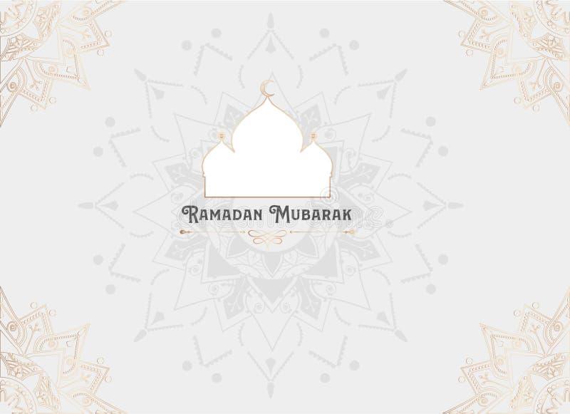 Imagen del vector de la tarjeta de felicitación del Ramadán Mubarak stock de ilustración
