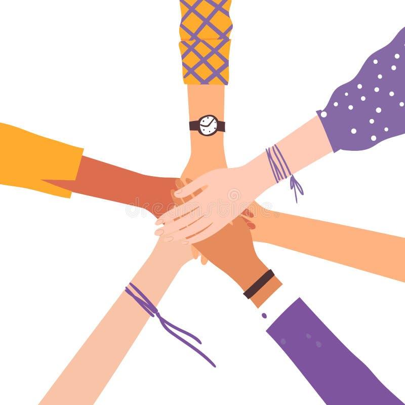 Imagen del vector de las manos que sacuden como símbolo de la amistad stock de ilustración