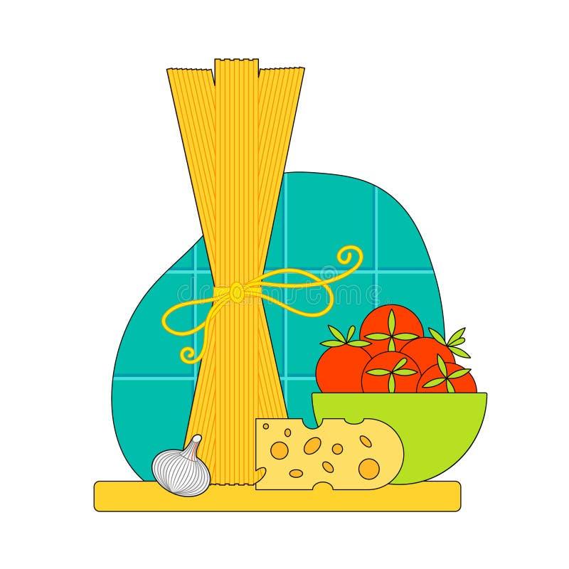 Imagen del vector de las pastas Cocinar el ejemplo de los espaguetis Concepto para las recetas Dise?o plano stock de ilustración