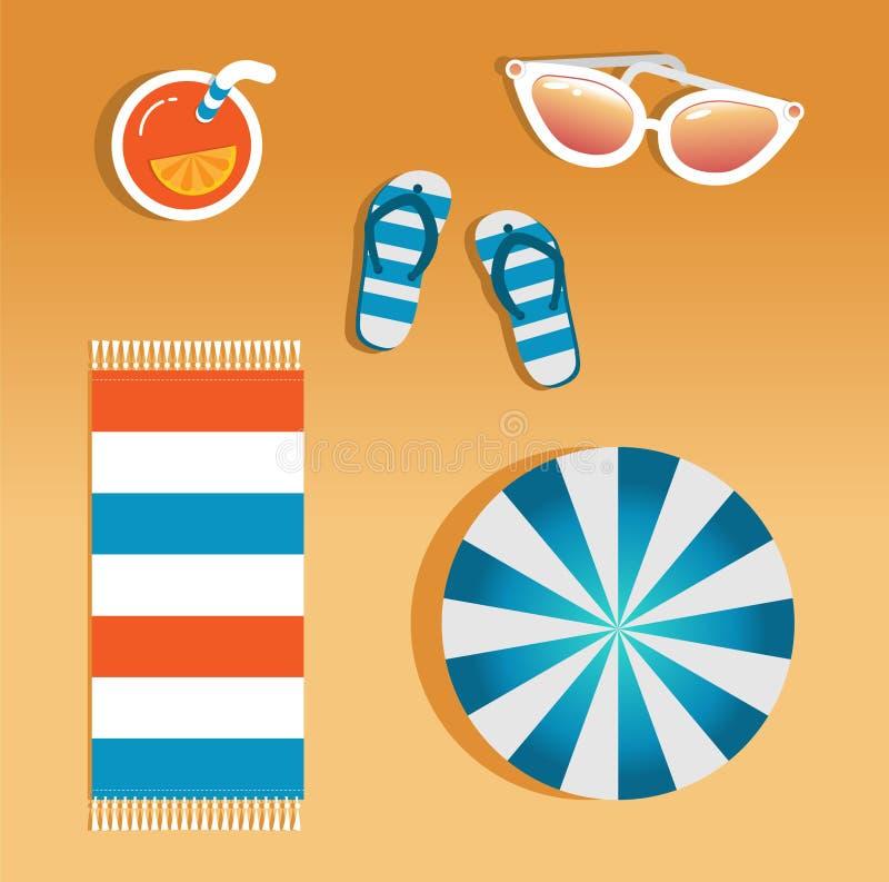 Imagen del vector de los accesorios de la playa libre illustration