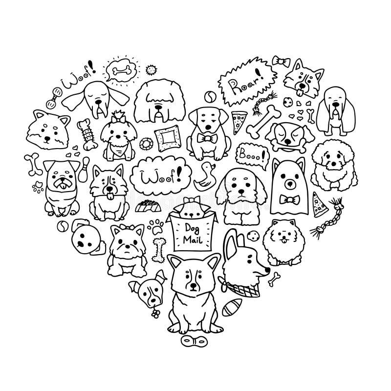 Imagen del vector de los perros del amor con diversos perros del garabato en forma del corazón Ejemplo lindo del garabato de los  ilustración del vector