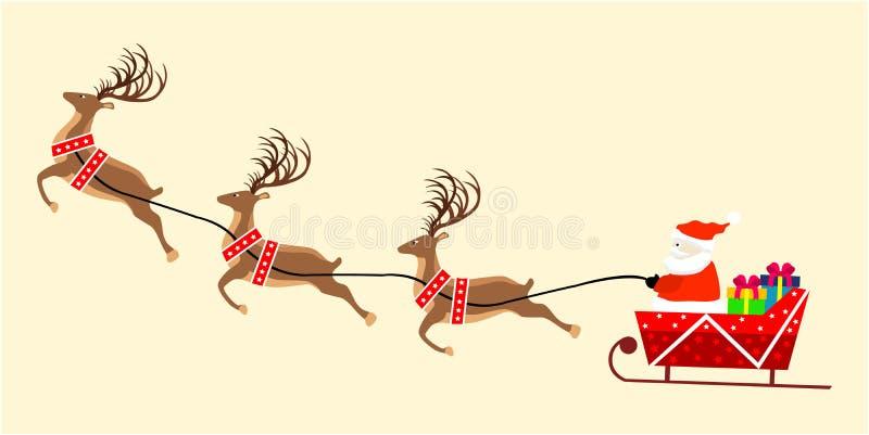 Imagen del vector de Papá Noel en trineo con los regalos de Navidad stock de ilustración