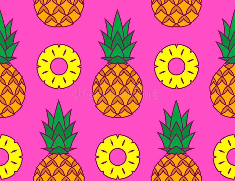 Imagen del vector de piñas y de sus rebanadas ilustración del vector