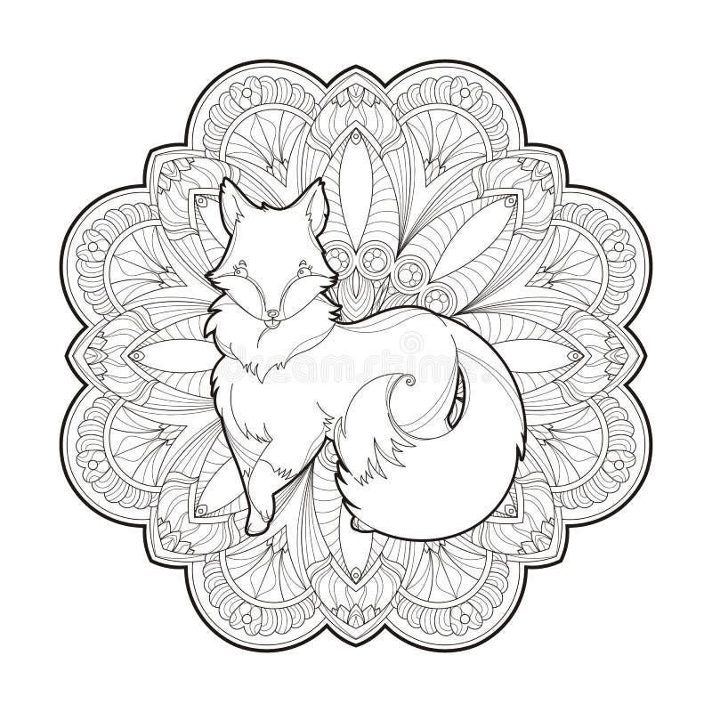 Imagen del vector de un diseño lindo del zorro aislado en un fondo blanco ilustración del vector
