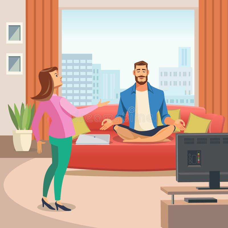 Imagen del vector de una ambiente familiar relajante libre illustration