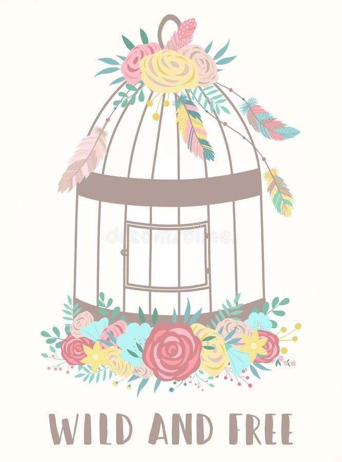 Imagen del vector de una jaula de pájaros en estilo del boho con las flores, las plumas y la palabra salvajes y libres Cara a man ilustración del vector
