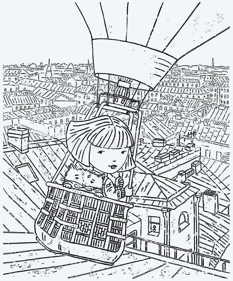 Imagen del vector de una niña con su vuelo del gato en un globo sobre la ciudad ilustración del vector
