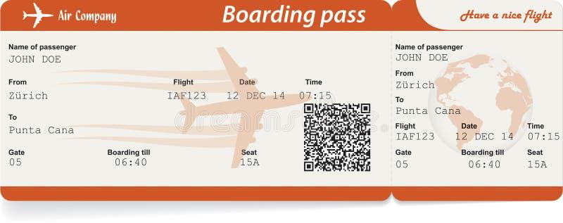 Imagen del vector del boleto del documento de embarque de la línea aérea stock de ilustración