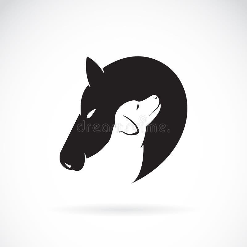 Imagen del vector del caballo y del perro stock de ilustración
