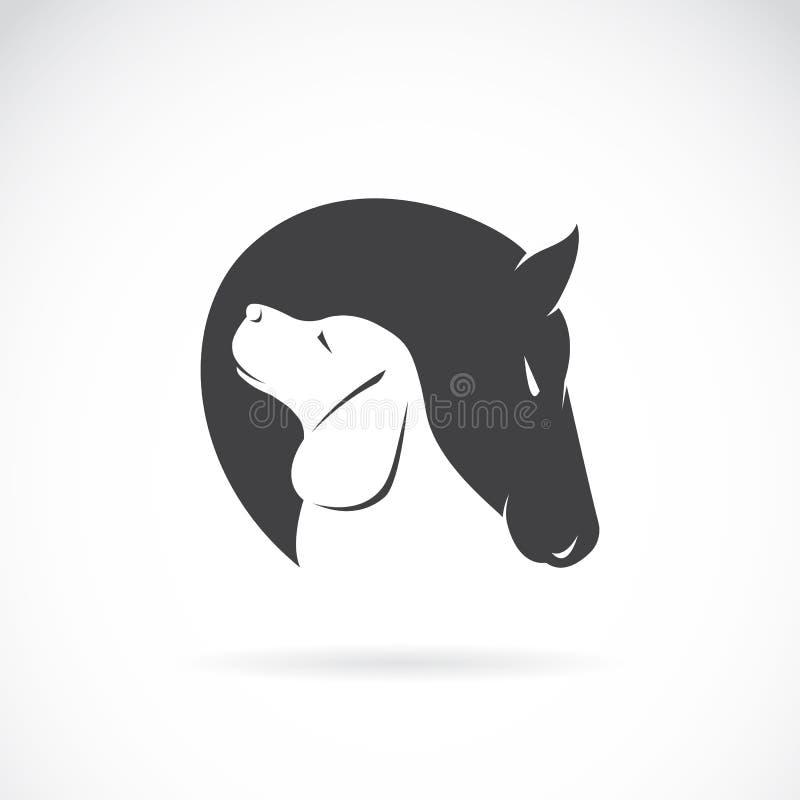 Imagen del vector del caballo y del perro ilustración del vector