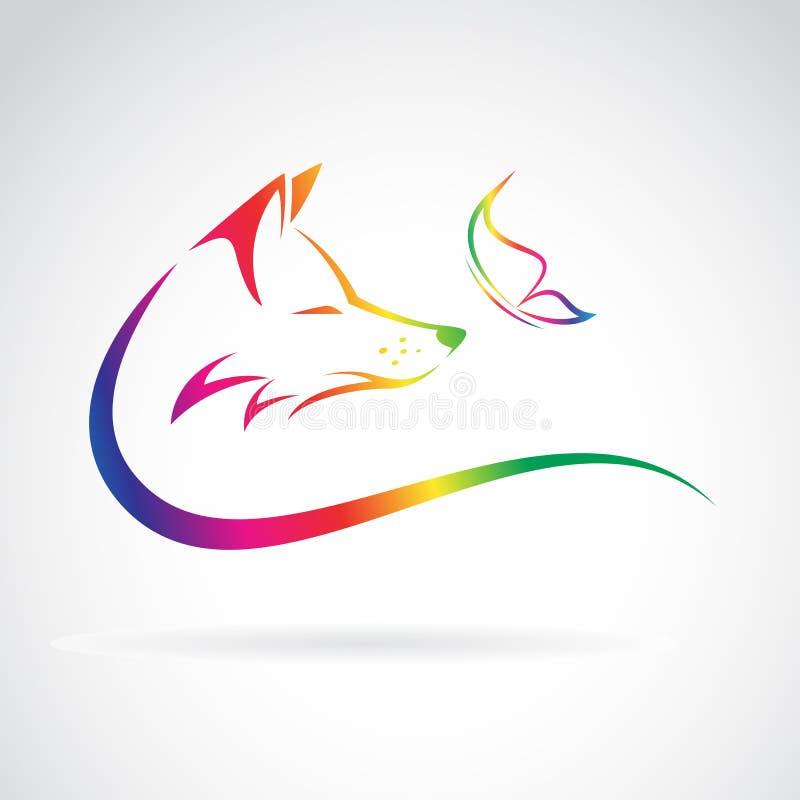 Imagen del vector del zorro y de la mariposa libre illustration