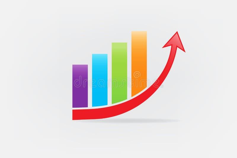 Imagen del vector del icono del logotipo de las ventas del crecimiento de las estadísticas del gráfico de negocio ilustración del vector