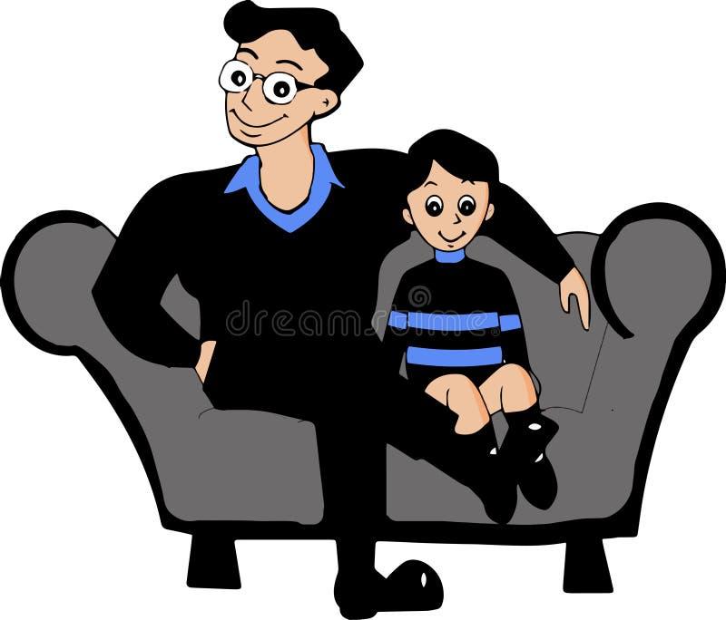 Imagen del vector del padre y del hijo de la historieta ilustración del vector