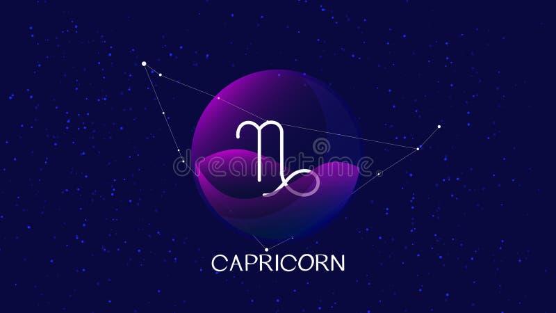 Imagen del vector que representa la noche, cielo estrellado con la constelación del zodiaco del Capricornio detrás de la esfera d stock de ilustración