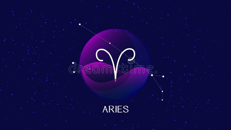 Imagen del vector que representa noche, el cielo estrellado con la constelación del zodiaco del aries detrás de la esfera de cris libre illustration