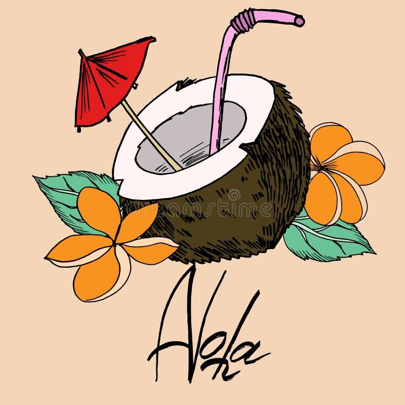 Imagen del vector del terraplén del esquema y de color del negro del coco y de la inscripción de la hawaiana stock de ilustración