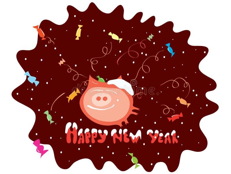 Imagen del vector un animal contento rodeado por un saludo/un cerdo dulces en chocolate libre illustration