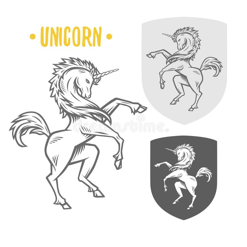 Imagen del vector del unicornio heráldico libre illustration
