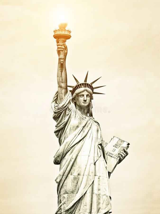 Imagen del vintage de la estatua de la libertad en Nueva York imagen de archivo