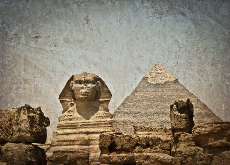 Imagen del vintage de la pirámide de Sphynx y de Cheops imagen de archivo libre de regalías