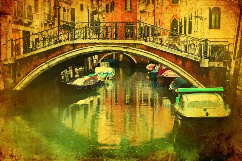 Imagen del vintage de un canal en Venecia libre illustration