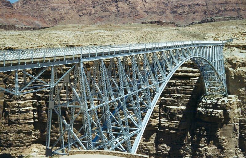 Imagen del vintage del puente de Navajo en el barranco de mármol, AZ imagen de archivo