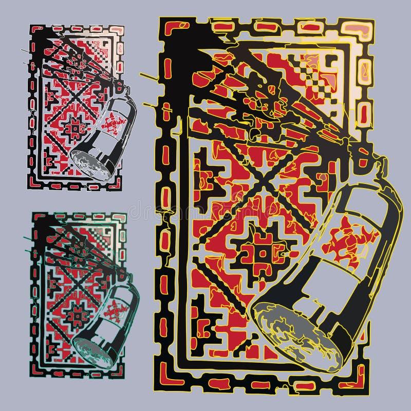 Imagen determinada de la pintura del espray abstracto en marco cuadrado stock de ilustración