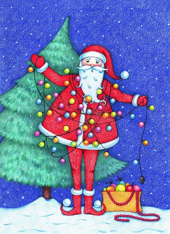 Imagen dibujada mano de Santa Claus que adorna el árbol de navidad y enredada en una guirnalda en la noche nevosa libre illustration
