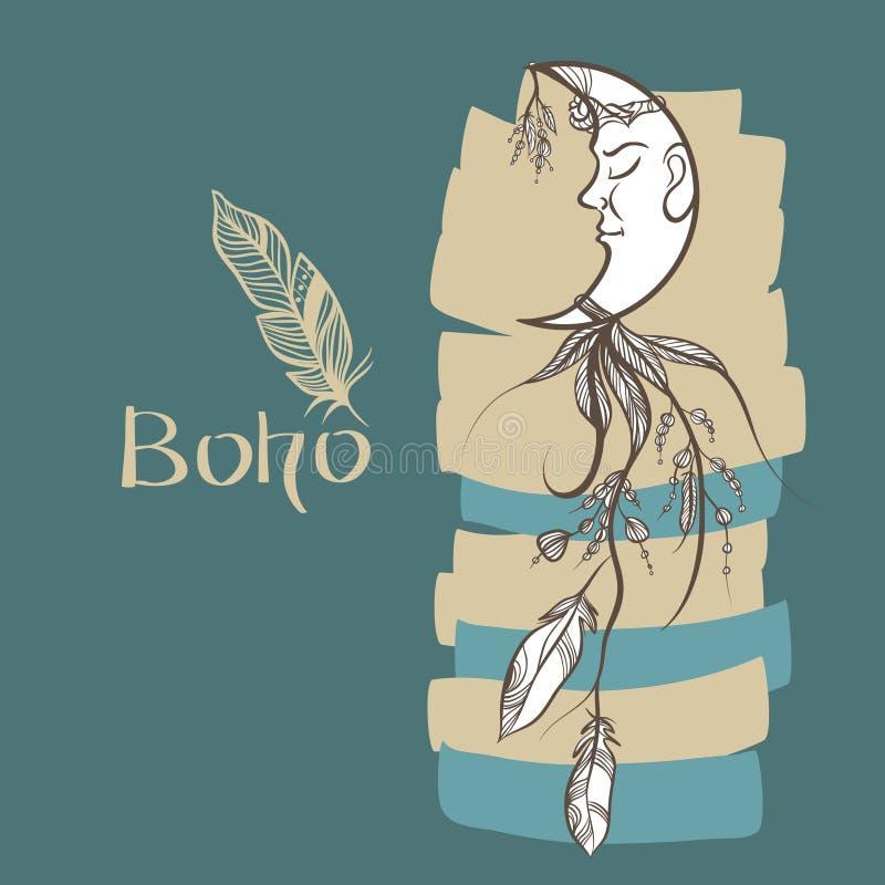 Imagen dibujada mano de un colector ideal adornado con las plumas ilustración del vector