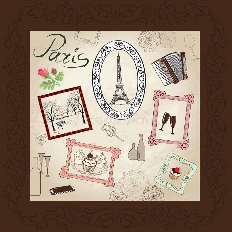 Imagen dibujada mano del símbolo de París en marco con el sistema de elementos del diseño. libre illustration