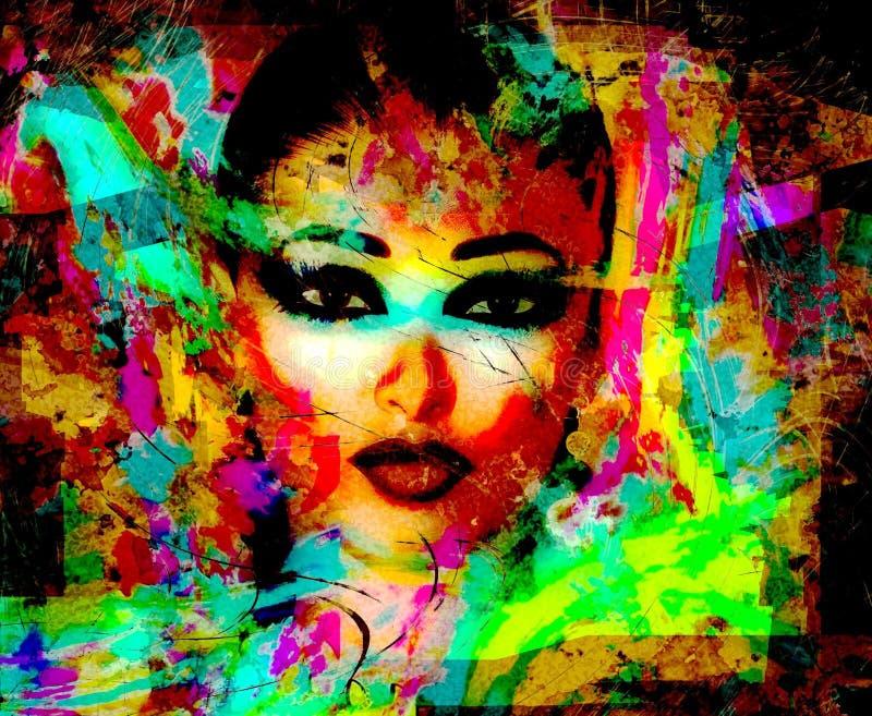 Imagen digital moderna de la cara de una mujer, cierre del arte para arriba con el fondo abstracto ilustración del vector