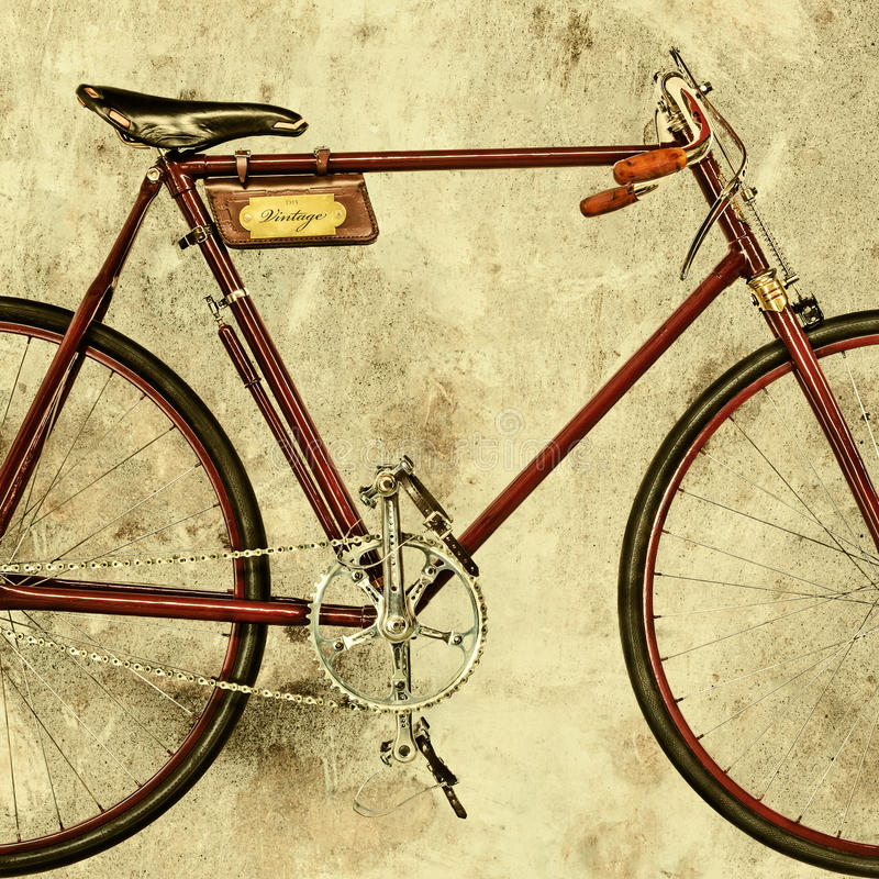 Imagen diseñada retra de una bicicleta que compite con vieja foto de archivo libre de regalías
