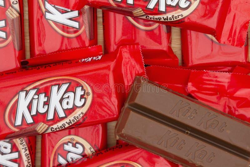 Imagen editorial del fondo de la barra de caramelo de chocolate de KitKat imagen de archivo libre de regalías