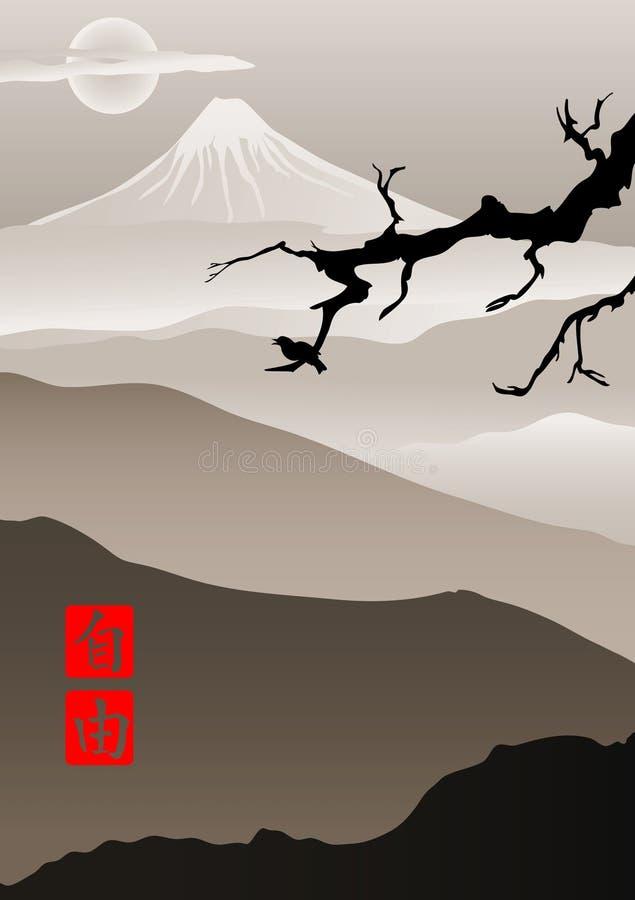 Imagen en estilo japonés ilustración del vector