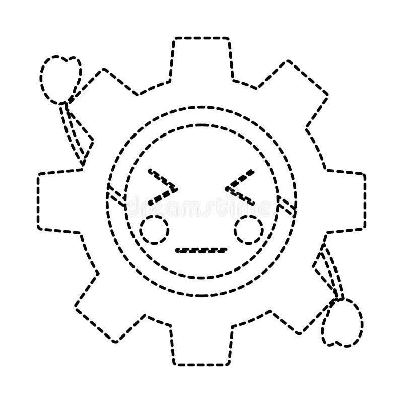 Imagen enojada del icono del kawaii del engranaje libre illustration