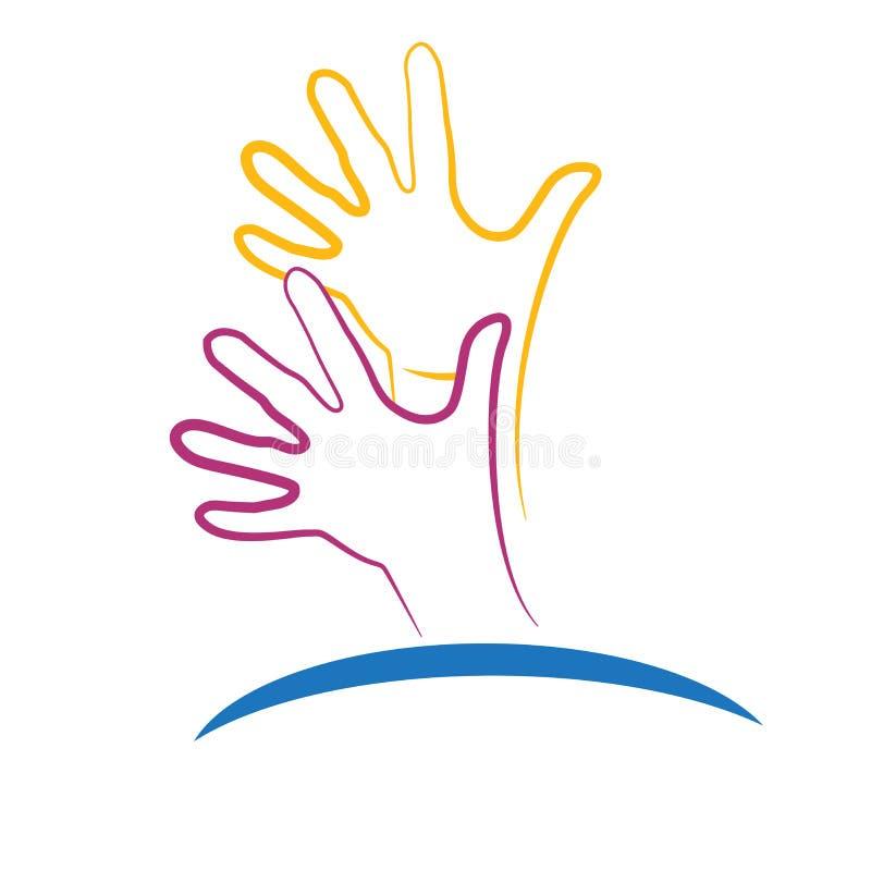 Imagen esperanzada del vector del icono de las manos del logotipo ilustración del vector