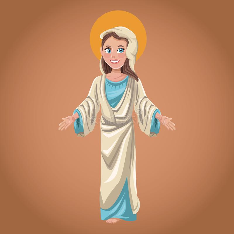 Imagen espiritual de la religión de la Virgen María ilustración del vector