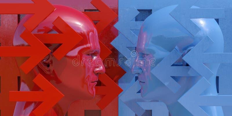 Imagen esquemática de la confrontación imagen de archivo libre de regalías