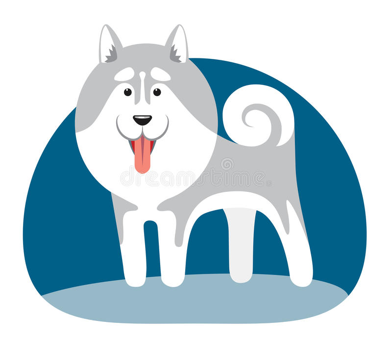 Imagen estilizada de un perro septentrional stock de ilustración