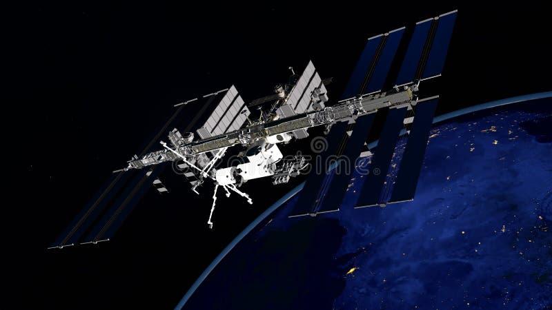 Imagen extremadamente detallada y realista de la alta resolución 3D de ISS - tierra que está en órbita internacional de la estaci imagen de archivo