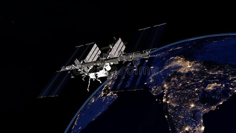 Imagen extremadamente detallada y realista de la alta resolución 3D de ISS - tierra que está en órbita internacional de la estaci fotos de archivo