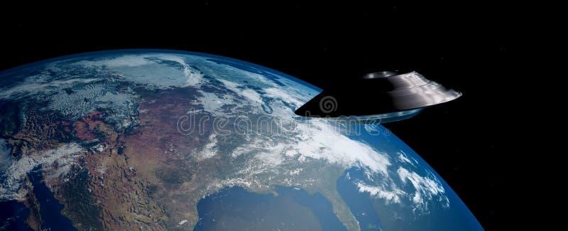 Imagen extremadamente detallada y realista de la alta resolución 3D de un UFO stock de ilustración