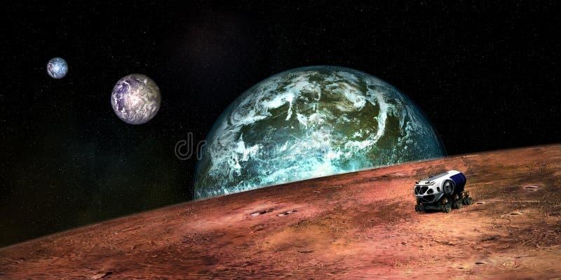 Imagen extremadamente detallada y realista de la alta resolución 3D del un Exoplanet con un vehículo de la exploración espacial T fotografía de archivo
