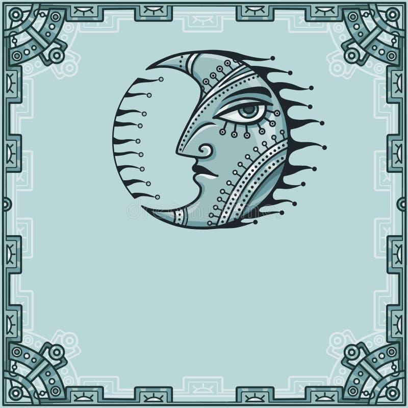 Imagen fantástica de la luna del hierro Amuleto del metal Un fondo - un marco de elementos del hierro libre illustration