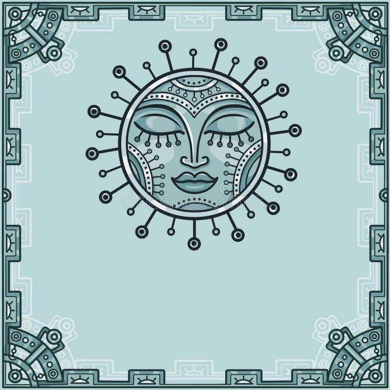 Imagen fantástica del sol del hierro Amuleto del metal Un fondo - un marco de elementos del hierro ilustración del vector