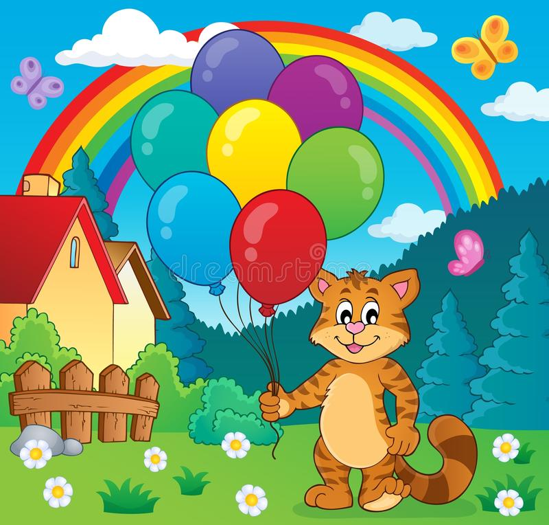 Imagen feliz 2 del tema del gato del partido ilustración del vector