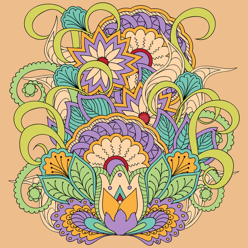 Imagen floral colorida en estilo del boho libre illustration