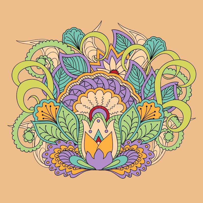 Imagen floral colorida en estilo del boho ilustración del vector