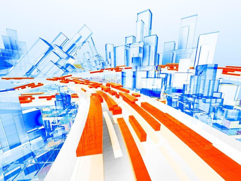 Imagen futura del ordenador de la ciudad ilustración del vector