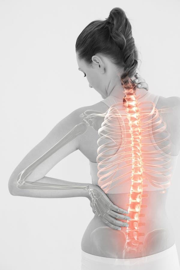 Imagen generada Digital de la mujer que sufre del dolor muscular imágenes de archivo libres de regalías